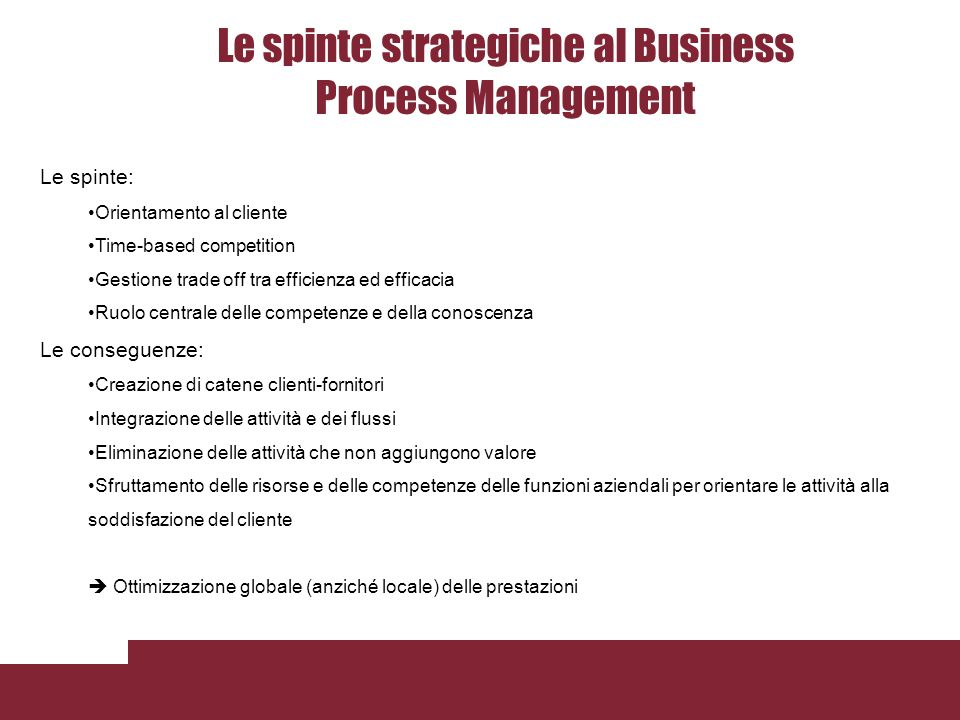 Le spinte strategiche al Business Process Management