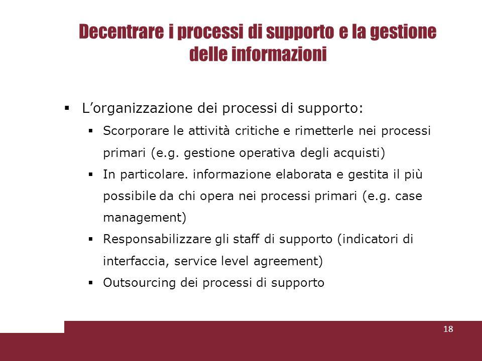 Decentrare i processi di supporto e la gestione delle informazioni