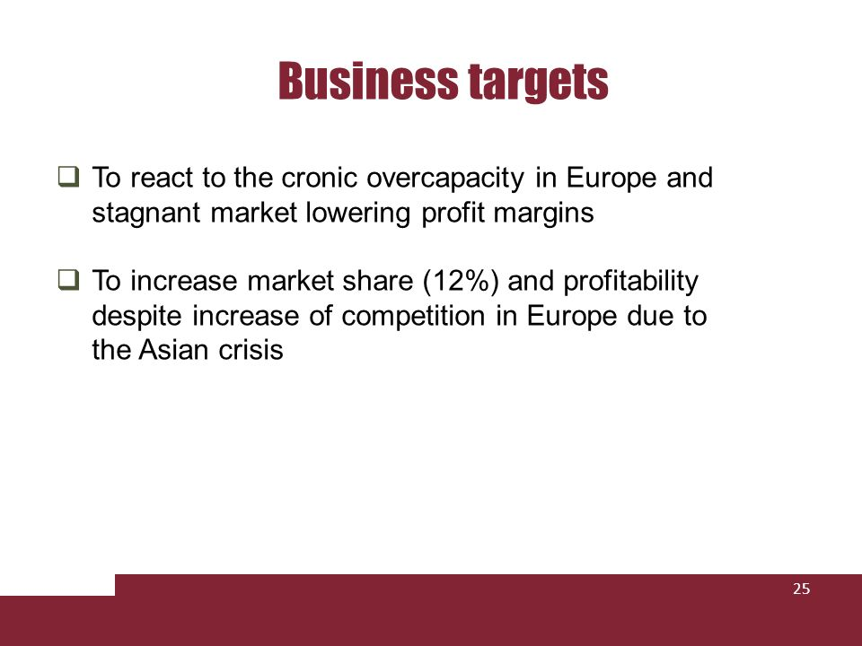 Business targets To react to the cronic overcapacity in Europe and stagnant market lowering profit margins.