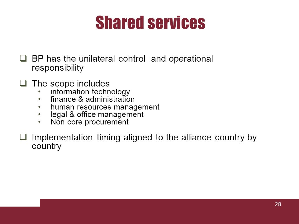 Shared services BP has the unilateral control and operational responsibility. The scope includes.