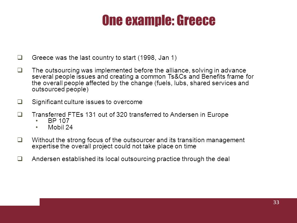 One example: Greece Greece was the last country to start (1998, Jan 1)