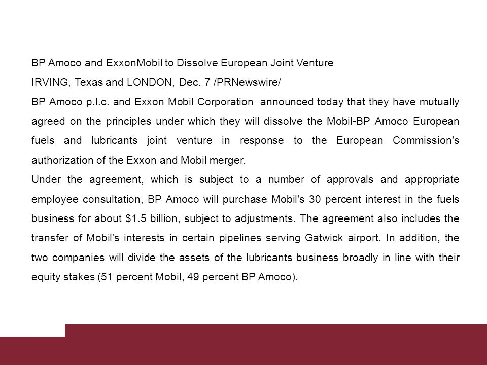 BP Amoco and ExxonMobil to Dissolve European Joint Venture