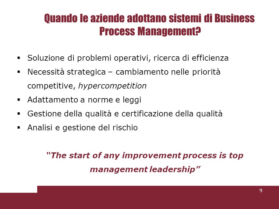 Quando le aziende adottano sistemi di Business Process Management