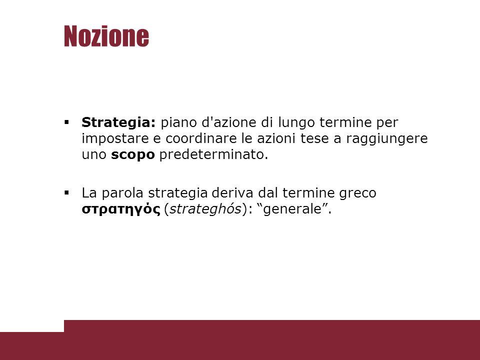 Nozione Strategia: piano d azione di lungo termine per impostare e coordinare le azioni tese a raggiungere uno scopo predeterminato.