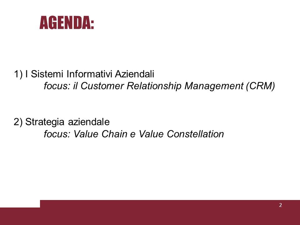 AGENDA: 1) I Sistemi Informativi Aziendali