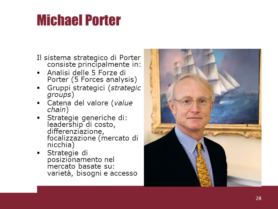 Michael Porter Il sistema strategico di Porter consiste principalmente in: Analisi delle 5 Forze di Porter (5 Forces analysis)