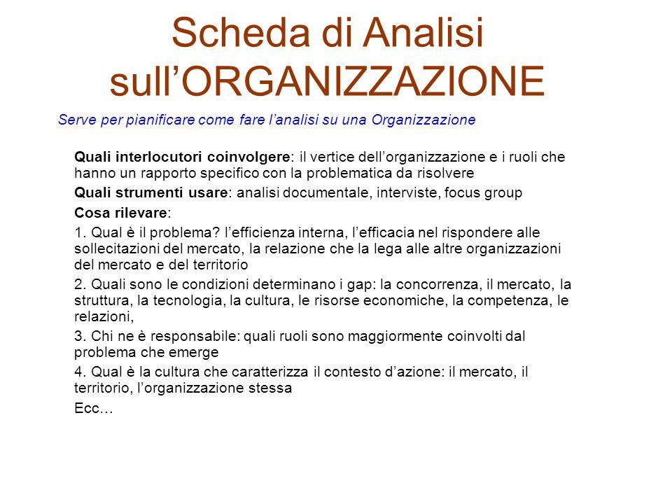 Scheda di Analisi sull'ORGANIZZAZIONE