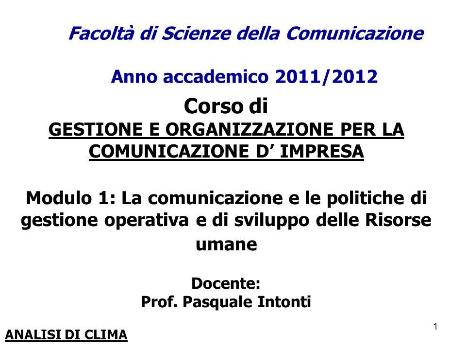 Facoltà di Scienze della Comunicazione Anno accademico 2011/2012