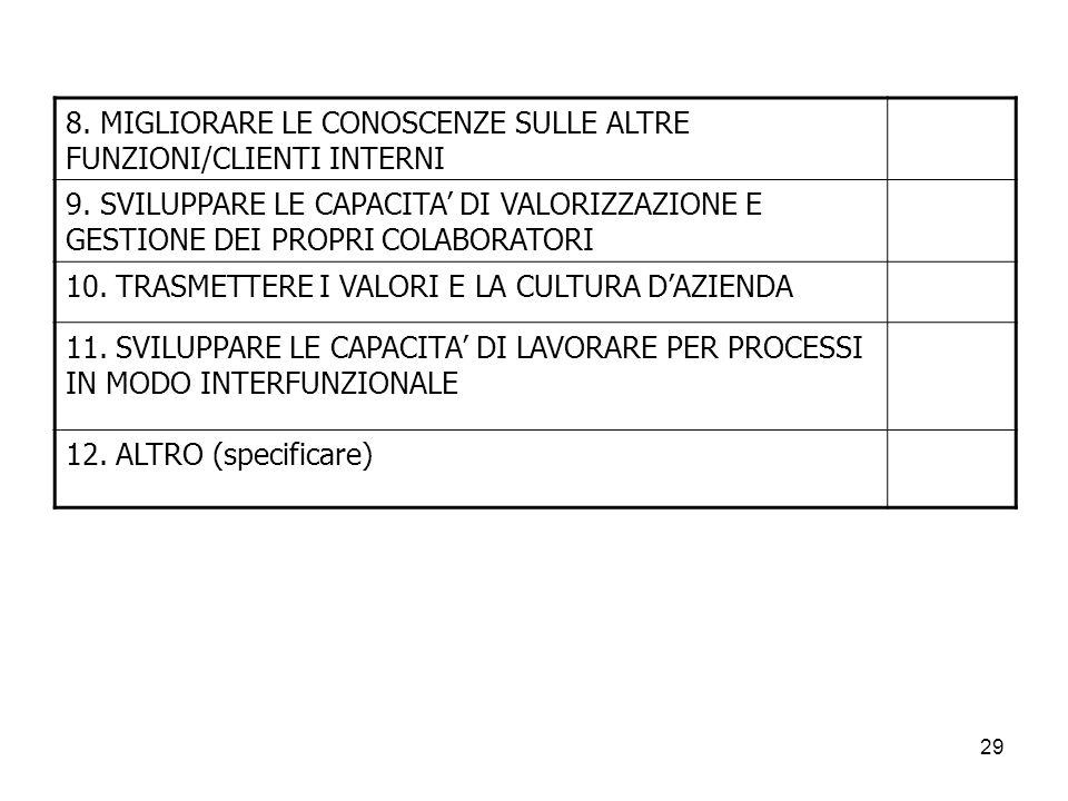 8. MIGLIORARE LE CONOSCENZE SULLE ALTRE FUNZIONI/CLIENTI INTERNI