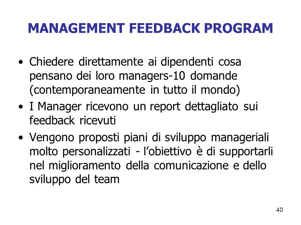 MANAGEMENT FEEDBACK PROGRAM