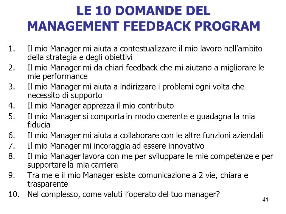 LE 10 DOMANDE DEL MANAGEMENT FEEDBACK PROGRAM