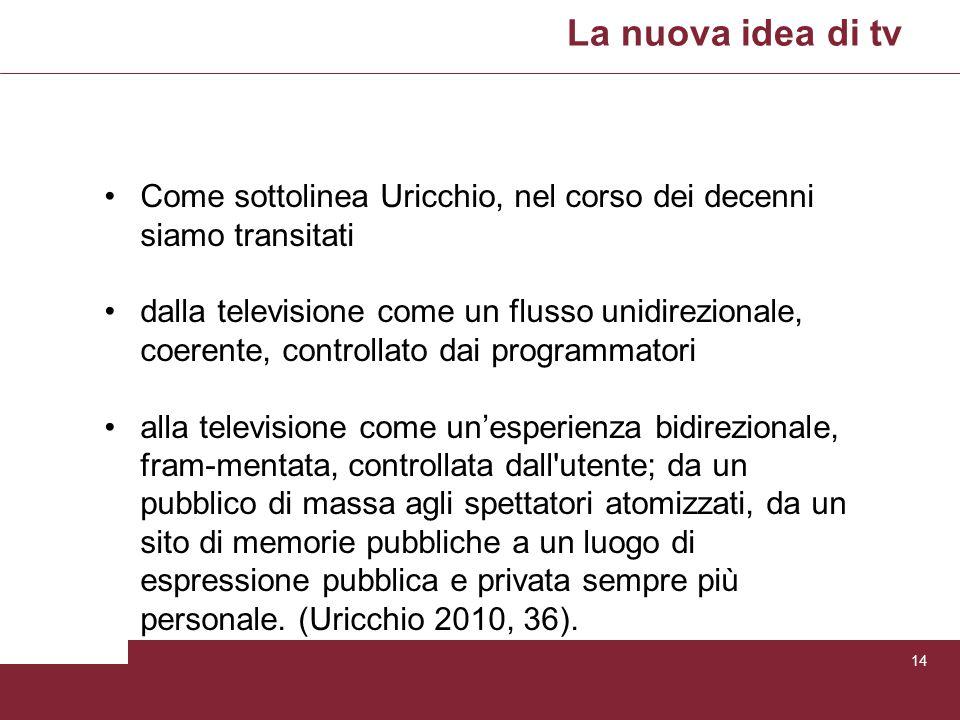 La nuova idea di tv Come sottolinea Uricchio, nel corso dei decenni siamo transitati.