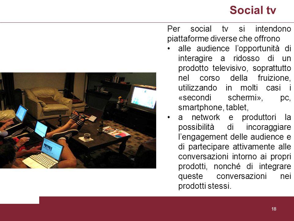 Social tv Per social tv si intendono piattaforme diverse che offrono