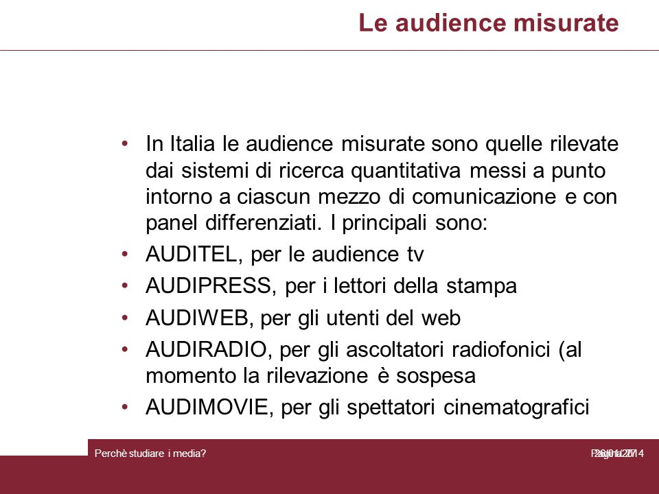 Le audience misurate