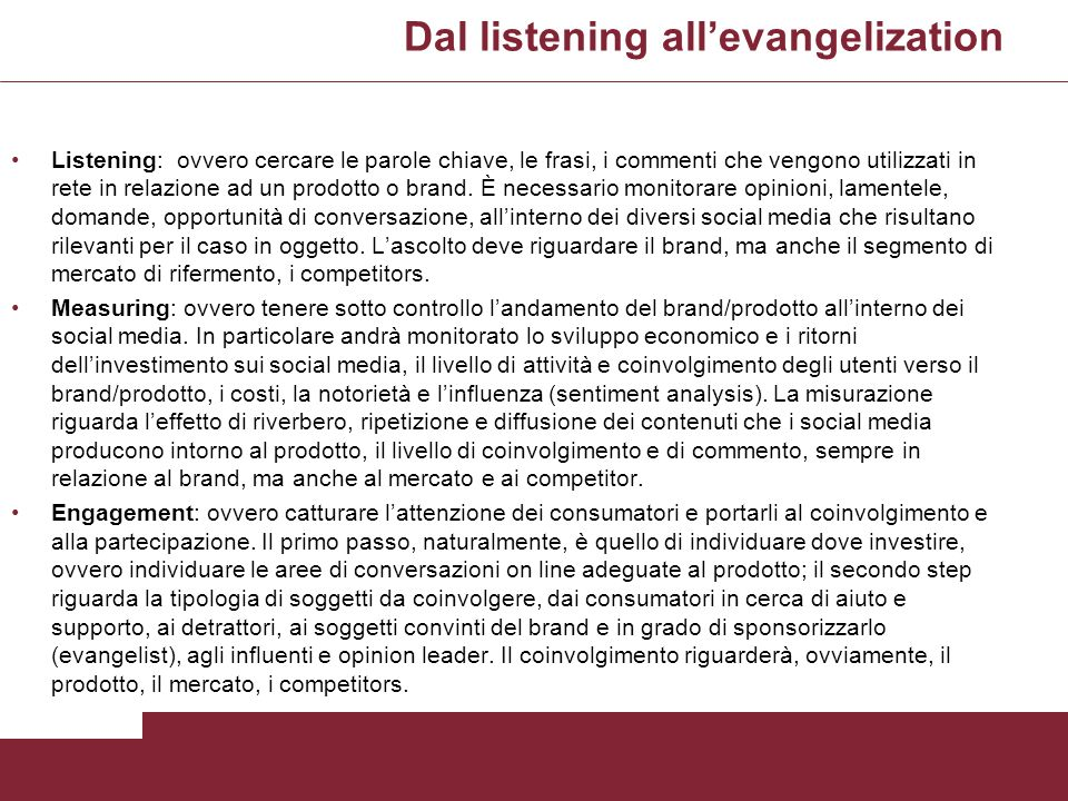 Dal listening all'evangelization