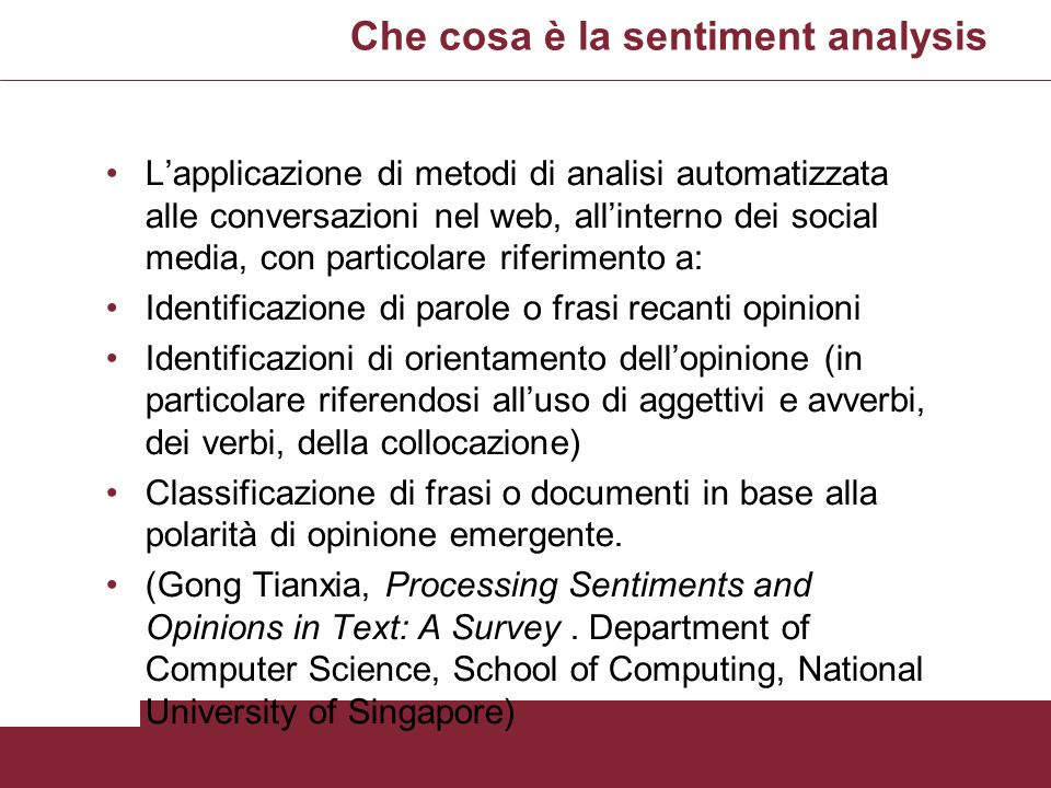 Che cosa è la sentiment analysis
