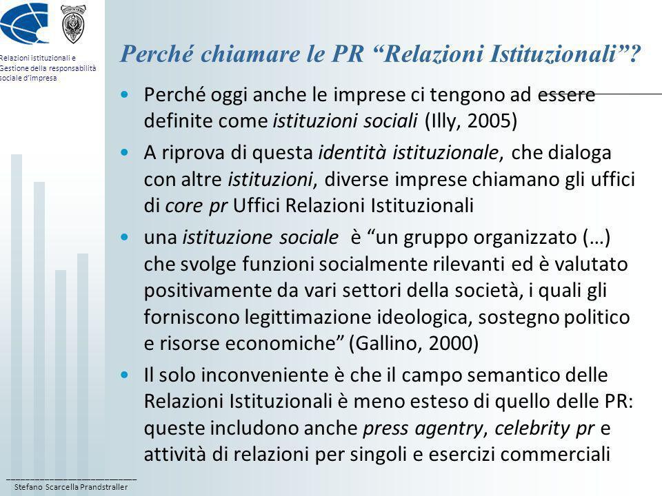 Perché chiamare le PR Relazioni Istituzionali
