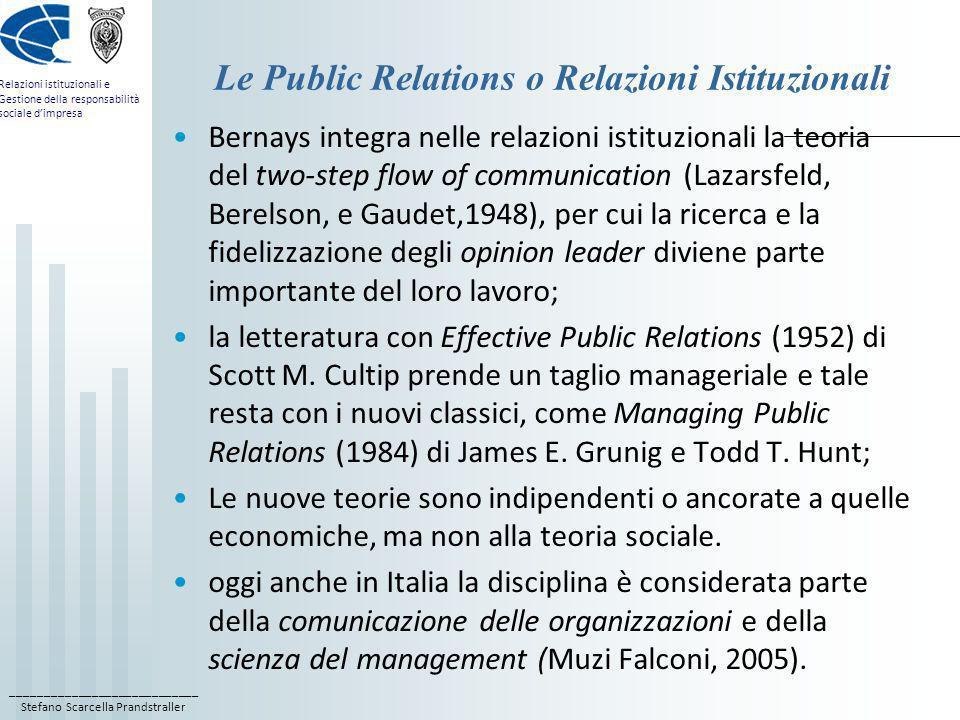 Le Public Relations o Relazioni Istituzionali