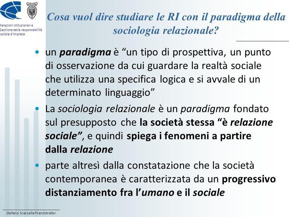 Cosa vuol dire studiare le RI con il paradigma della sociologia relazionale