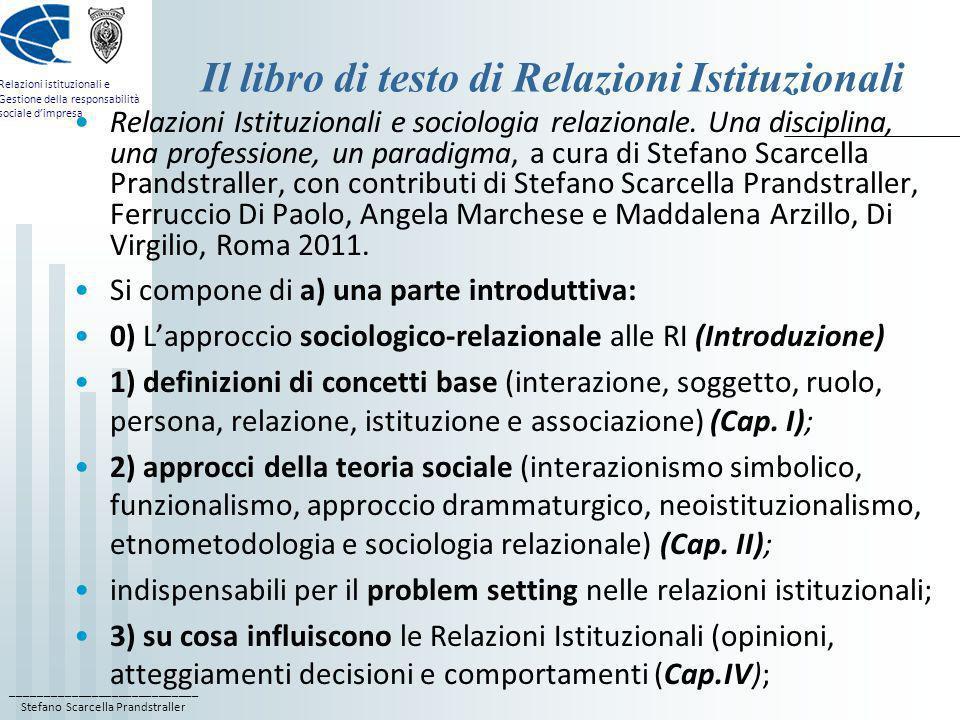 Il libro di testo di Relazioni Istituzionali