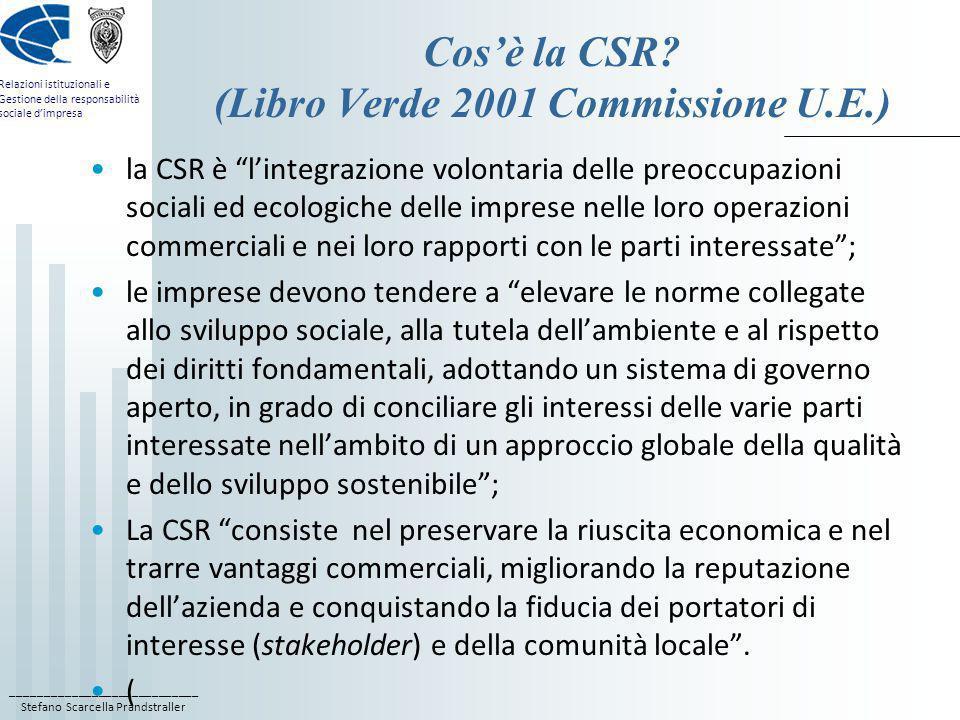 Cos'è la CSR (Libro Verde 2001 Commissione U.E.)