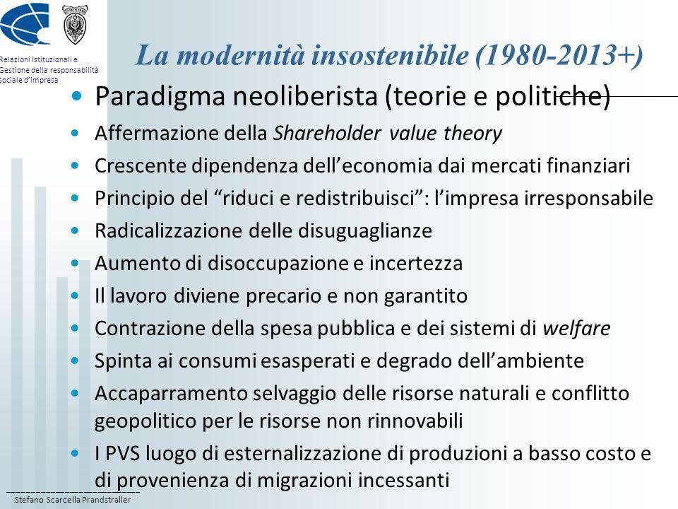 La modernità insostenibile (1980-2013+)