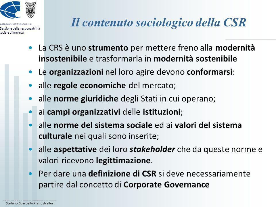 Il contenuto sociologico della CSR