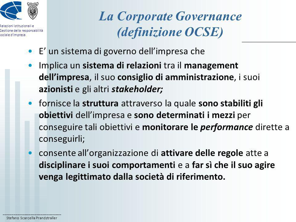 La Corporate Governance (definizione OCSE)