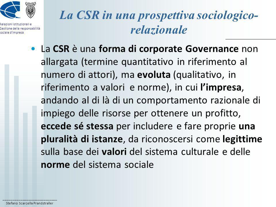 La CSR in una prospettiva sociologico-relazionale
