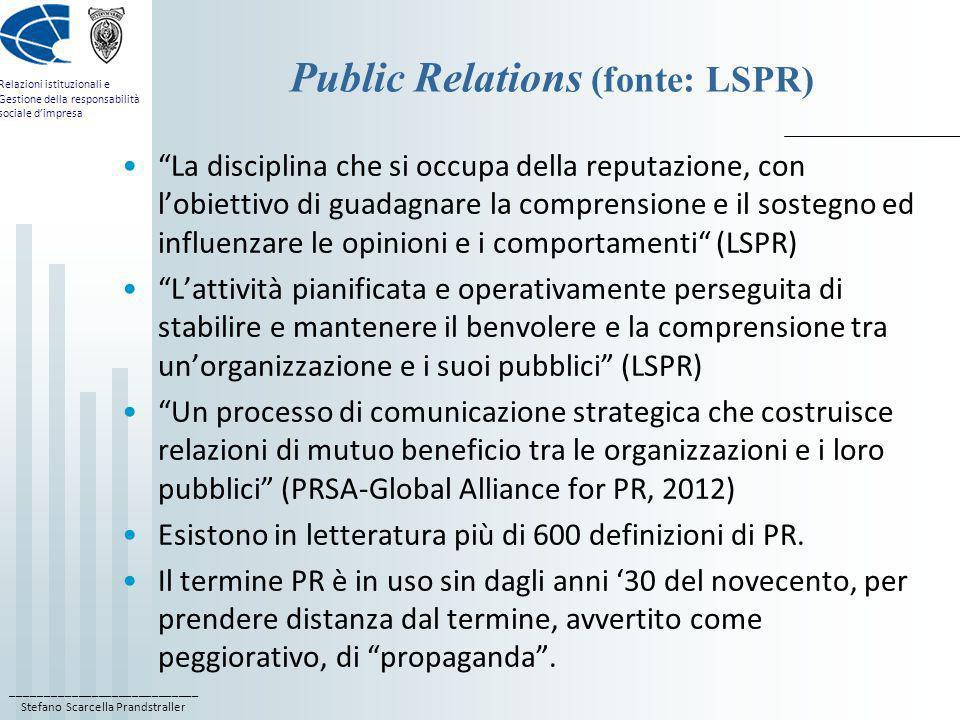 Public Relations (fonte: LSPR)
