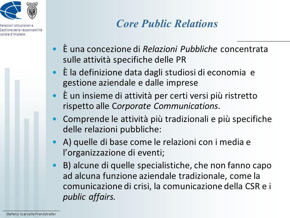 Core Public Relations È una concezione di Relazioni Pubbliche concentrata sulle attività specifiche delle PR.
