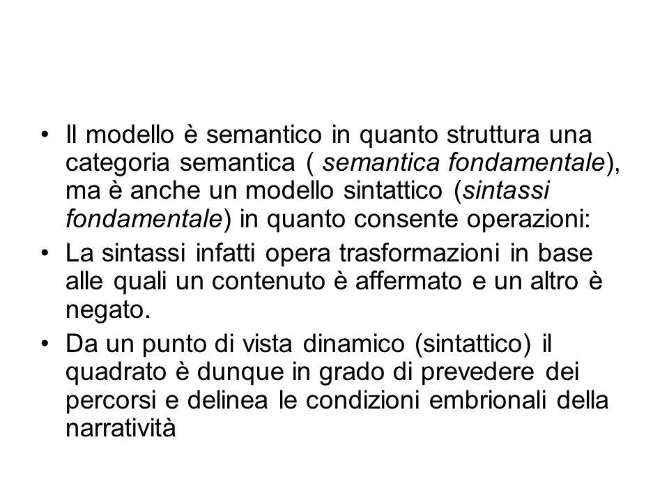 Il modello è semantico in quanto struttura una categoria semantica ( semantica fondamentale), ma è anche un modello sintattico (sintassi fondamentale) in quanto consente operazioni: