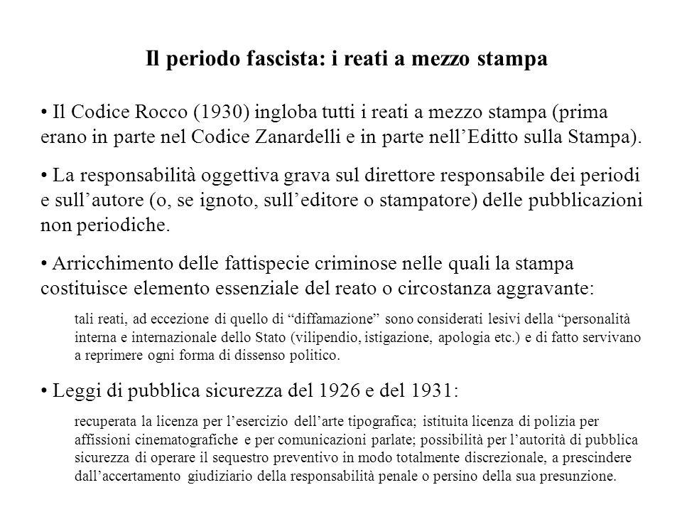 Il periodo fascista: i reati a mezzo stampa