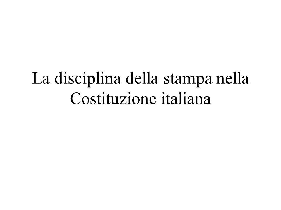 La disciplina della stampa nella Costituzione italiana
