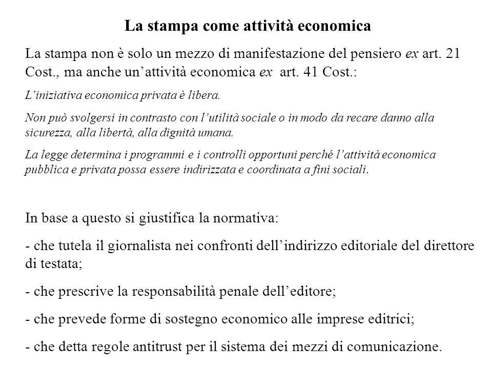La stampa come attività economica