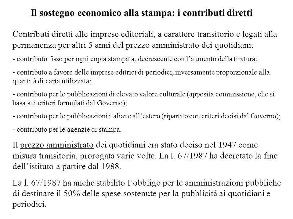 Il sostegno economico alla stampa: i contributi diretti