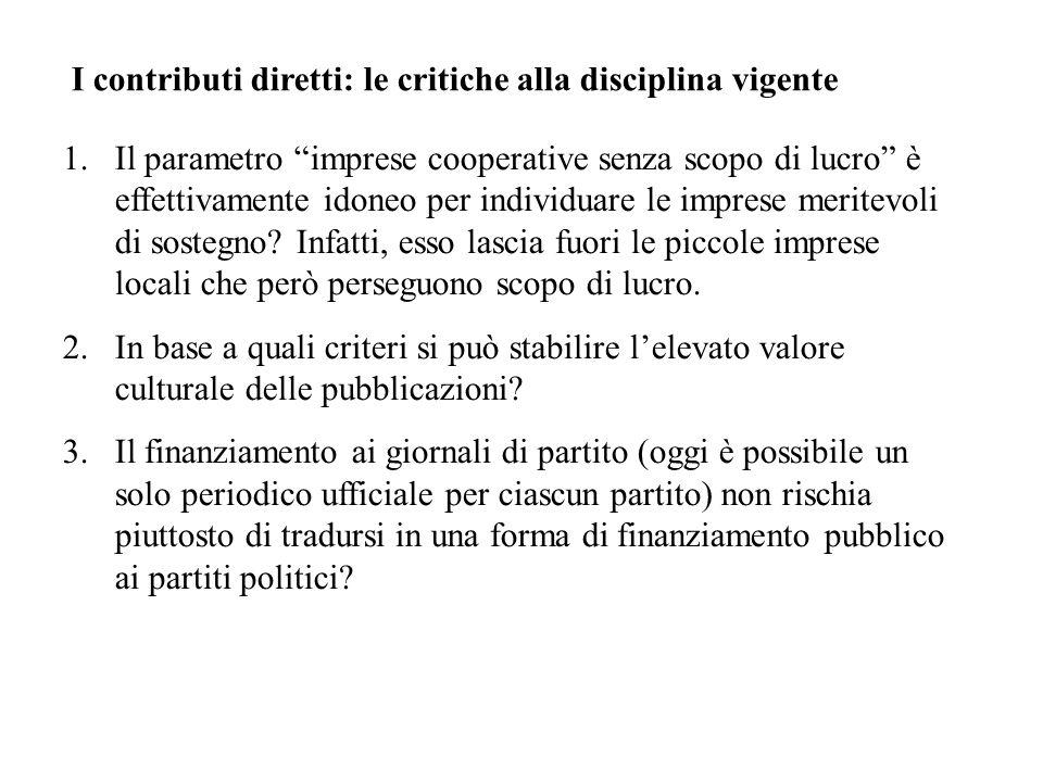 I contributi diretti: le critiche alla disciplina vigente