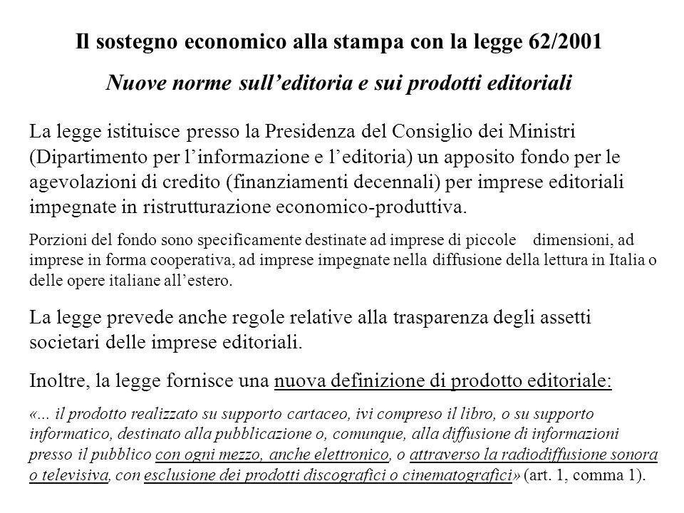 Il sostegno economico alla stampa con la legge 62/2001