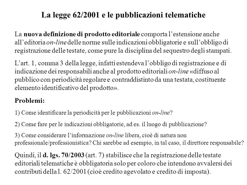 La legge 62/2001 e le pubblicazioni telematiche