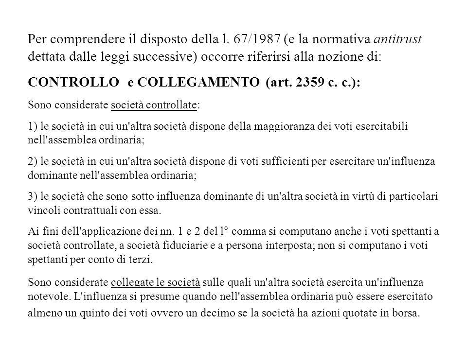 CONTROLLO e COLLEGAMENTO (art. 2359 c. c.):