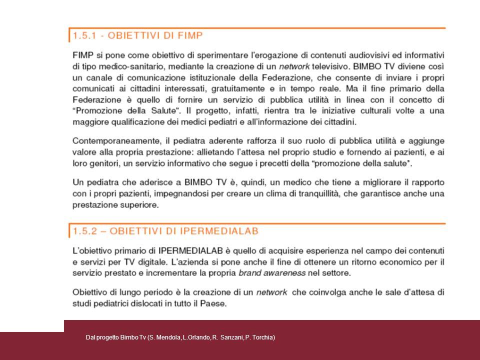 Dal progetto Bimbo Tv (S. Mendola, L.Orlando, R. Sanzani, P. Torchia)