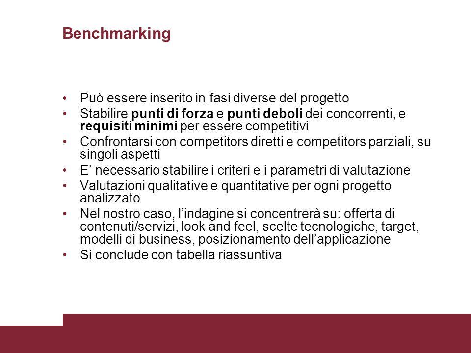 Benchmarking Può essere inserito in fasi diverse del progetto