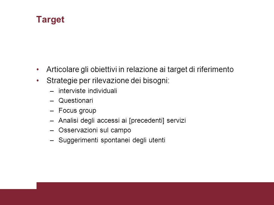 Target Articolare gli obiettivi in relazione ai target di riferimento