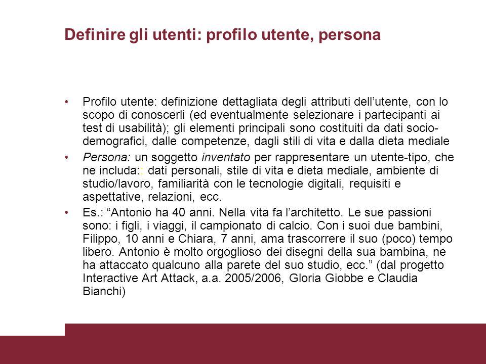 Definire gli utenti: profilo utente, persona