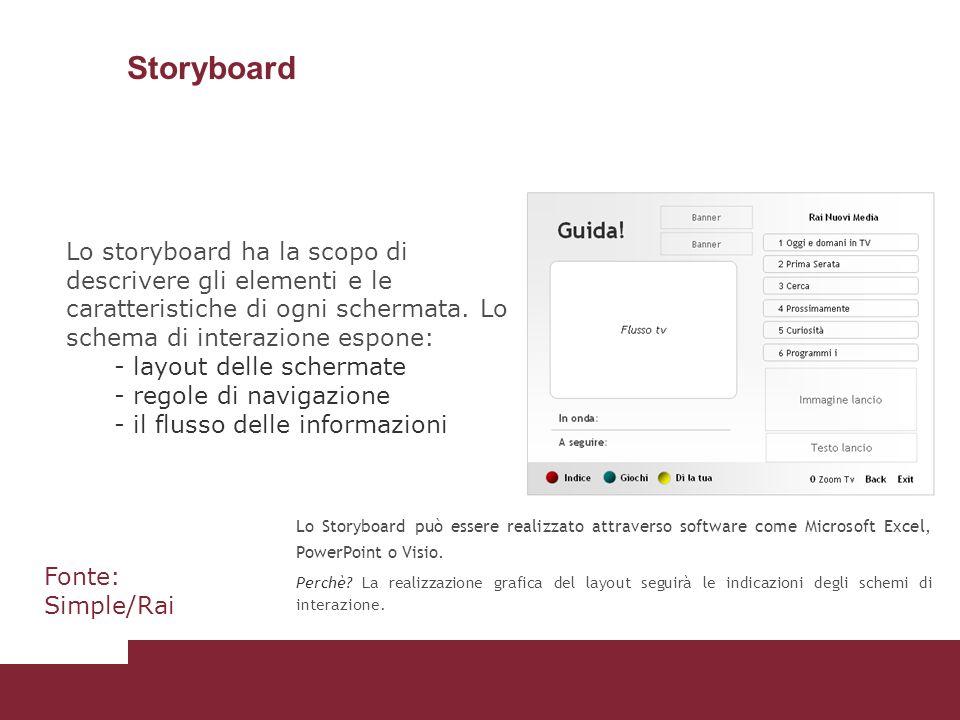Storyboard Lo storyboard ha la scopo di descrivere gli elementi e le caratteristiche di ogni schermata. Lo schema di interazione espone: