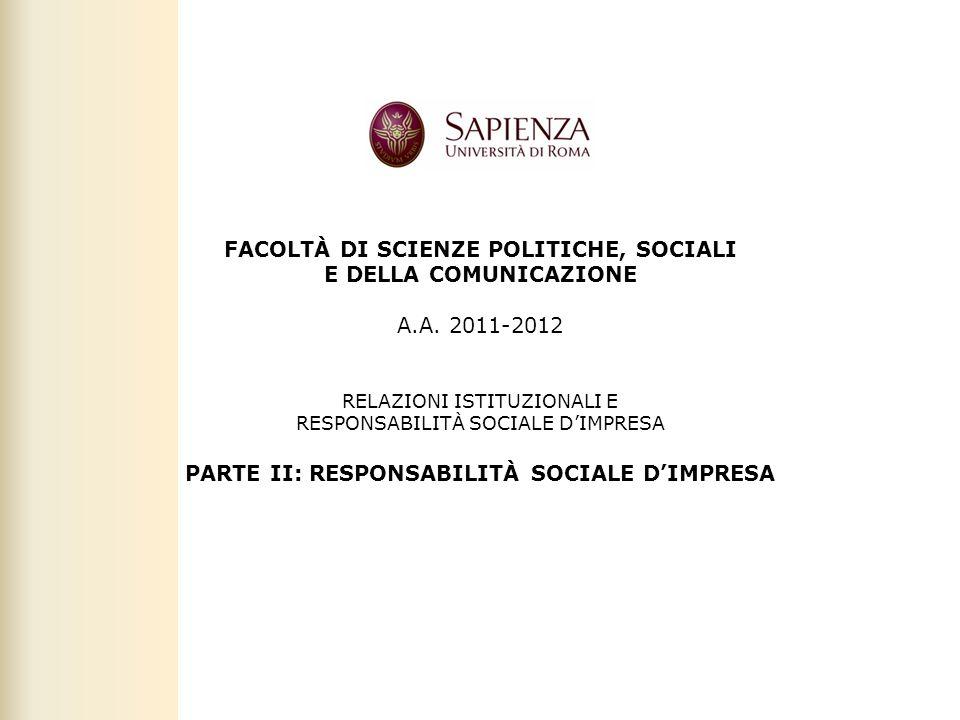 PARTE II: RESPONSABILITÀ SOCIALE D'IMPRESA
