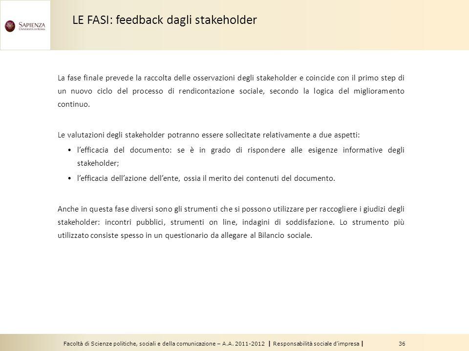 LE FASI: feedback dagli stakeholder