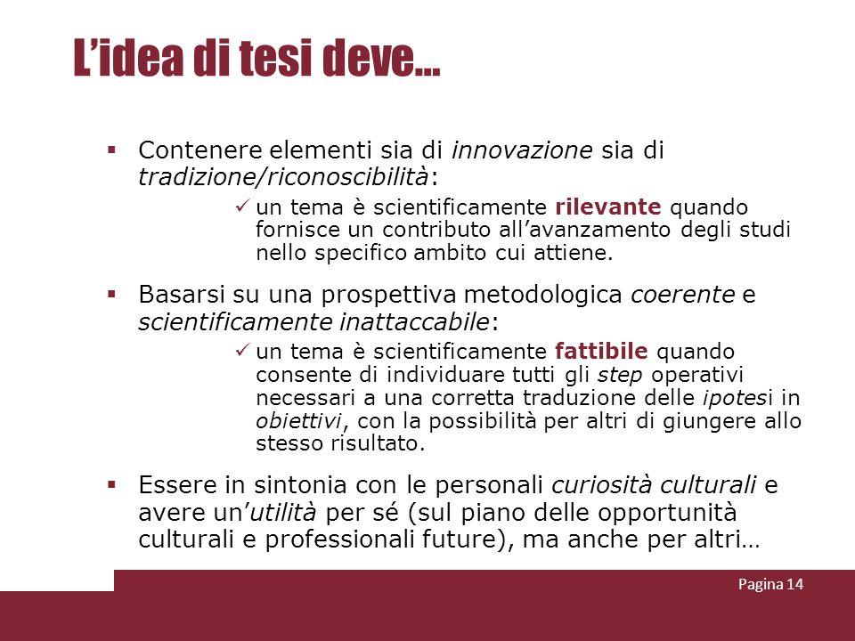 L'idea di tesi deve… Contenere elementi sia di innovazione sia di tradizione/riconoscibilità:
