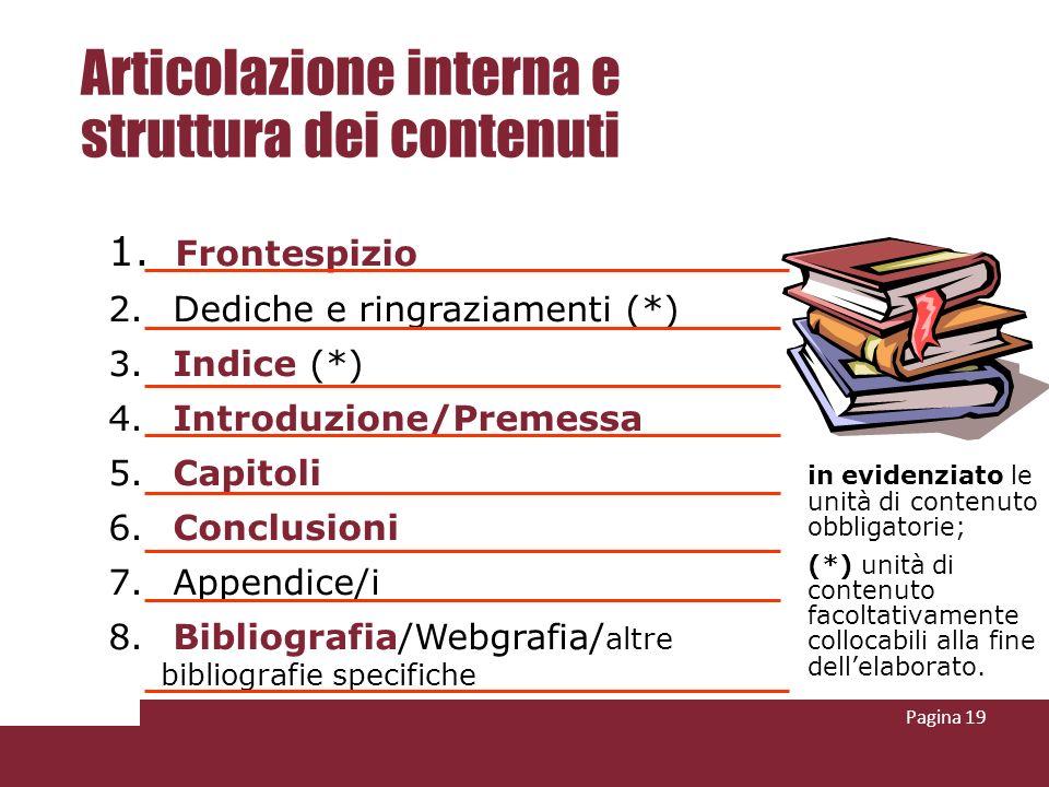 Articolazione interna e struttura dei contenuti