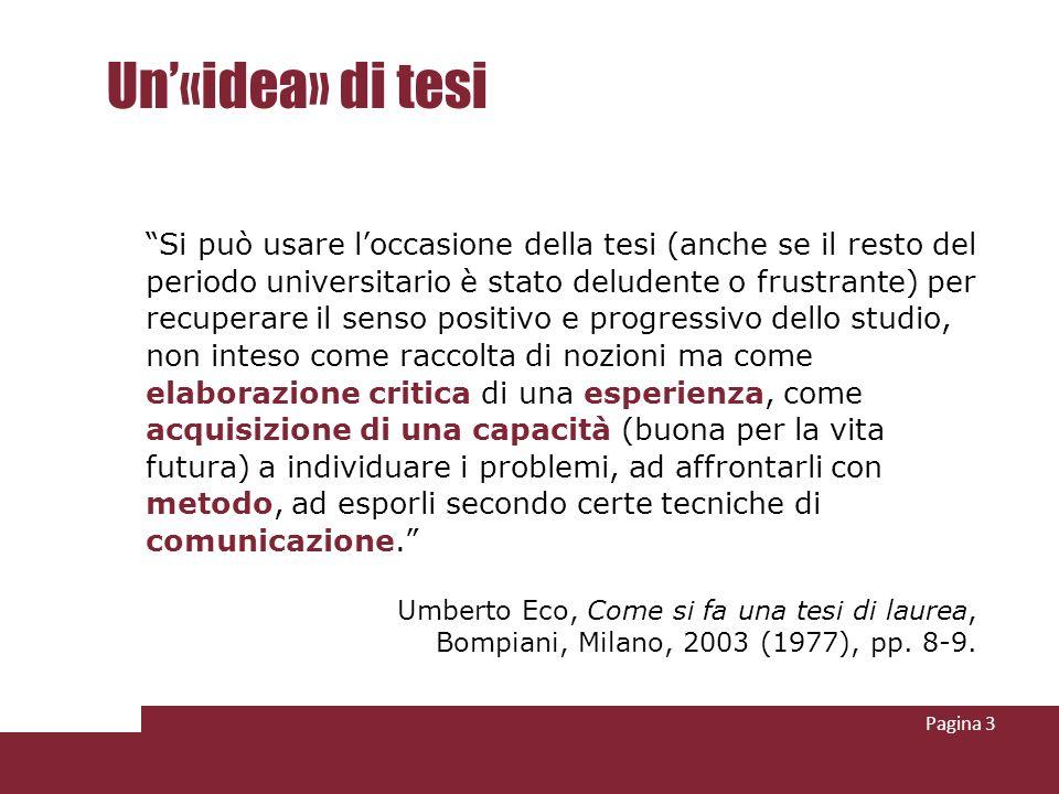 Un'«idea» di tesi Umberto Eco, Come si fa una tesi di laurea,